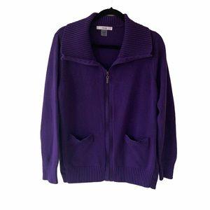Alia Purple Zip-Up Cardigan